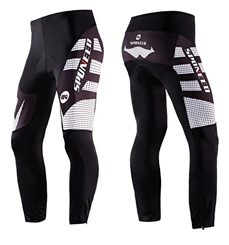 sponeed Cycling Pants Padded Men's Winter Bike Gear Tights Padding Bicycle Leggings Trousers Asian 3XL/ US XXL White