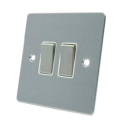 aet fsc2gswiws 10 A Interruptor (2 Vías, 2 Luces Cromo Satinado Soporte de Doble