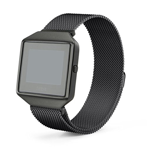 Fitbit Blaze Band with New Metal Frame Hagibis Milanese Loop Stainless Steel Bracelet Strap Magnet Lock Band for Fitbit Blaze Smart Watch-Small Large Black Sliver Rose Gold