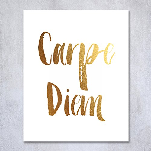 Carpe Diem Gold Foil Print Poster Wall Art Seize The Day Inspirational Motivational Quote