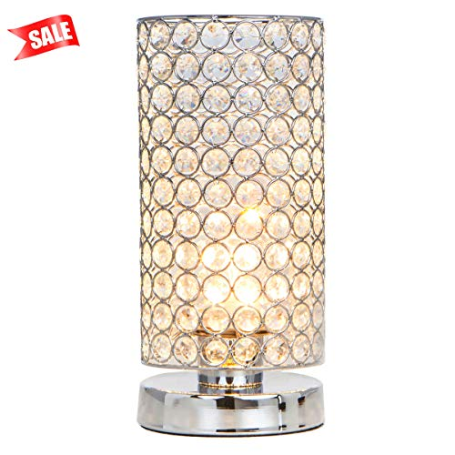 Lutriva Home Elegant Chrome Round Mini Crystal Table Lamp,Decorative Nightstand Bedside Lamp,Beaded Drum -