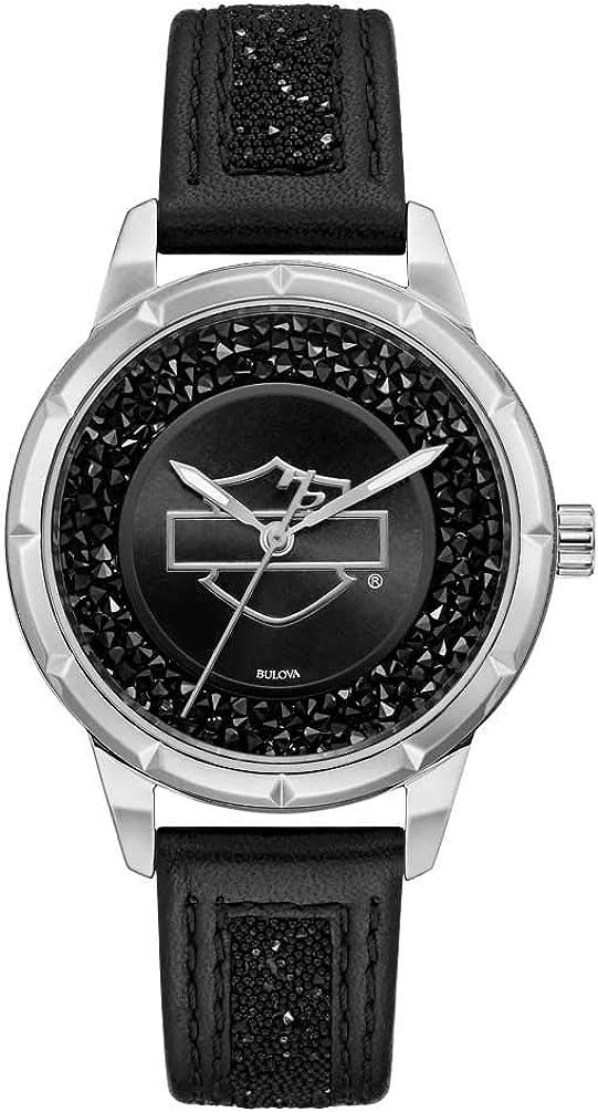 Harley-Davidson 76L192 Open B&S Crystal Embellished Reloj de mujer, correa de cuero
