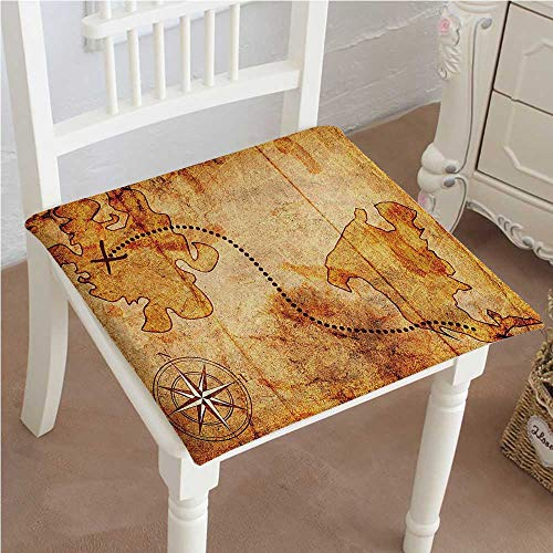 Premium Comfort Seat Cushion Bohemian Style Treasure Hunt Map with Small Compass Paint on It Manuscript Atlas Cushion for Office Chair Car Seat Cushion 14
