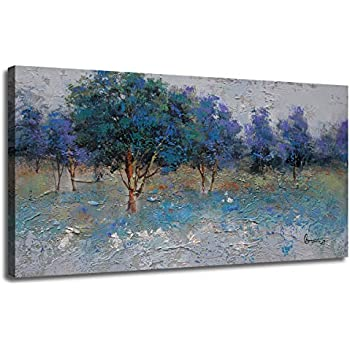 Canvas Wall Art Prints Nature Trees Blue Green Tones Landscape Painting Textured One Panel Modern Woods Picture Framed Ready to Hang for Home and Office Decor 48