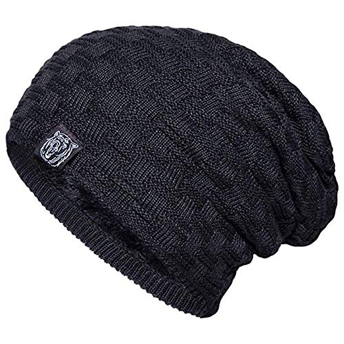 YSense Mens Winter Warm Slouchy Long Oversized Beanie Baggy Hat Fleece Lined Knit Skull Cap