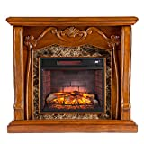 Southern Enterprises Cardona Infrared Electric Fireplace, Walnut Finish with Chocolate Simulated Marble