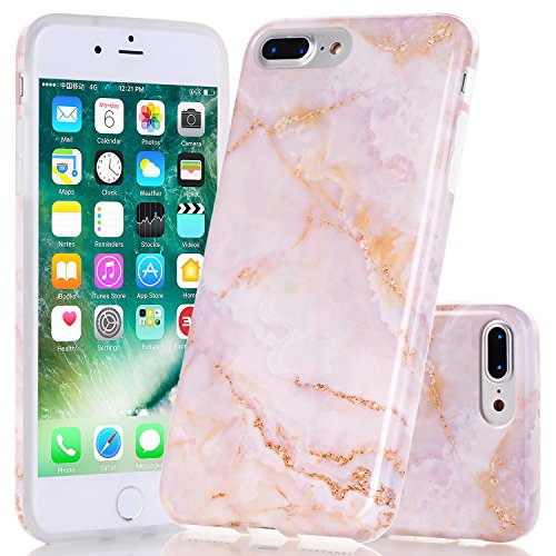 iPhone 7 Plus Case, Wastou [Marble Pattern Series] Slim Fit Anti-Shock Frosted TPU Protective Cover Case for Apple iPhone 7 Plus (2016) / iPhone 8 Plus (Jade Cold)