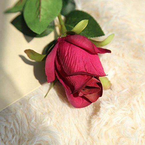 (Fine Artificial Fake Rose Flower Bridal Bouquet Wedding Party Long Roses Home Decor Long Branch Rose Flower Artificial Flower (Hot Pink))