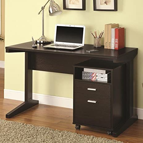 Ordinaire Desks 2 Piece Desk Set With Rolling File Cabinet Cappuccino