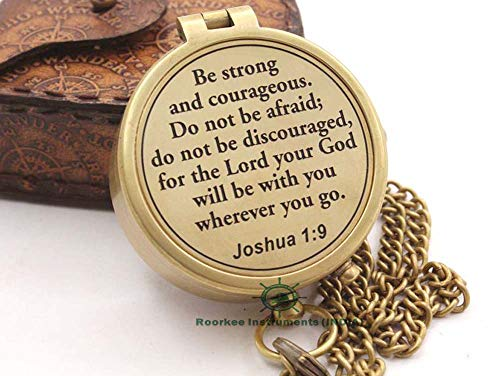 Roorkee Instruments India Compass with Scripture Joshua 1:9 is Engraved,Engraved Compass, Confirmation Gift Ideas, Baptism Gifts (Gift For Confirmation Ideas Daughter)