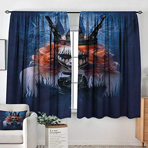 Queen Window Curtain Drape Queen of Death Scary Body Art Halloween Evil Face Bizarre Make Up Zombie Drapes for Living Room 72