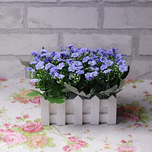 Life Up® Künstliche Blumen im Topf Kunstblume Deko mit Blumentopf Blumenkasten Holz Kunstpflanzen Garten Retro Stil 20*14*14cm Hellviolett