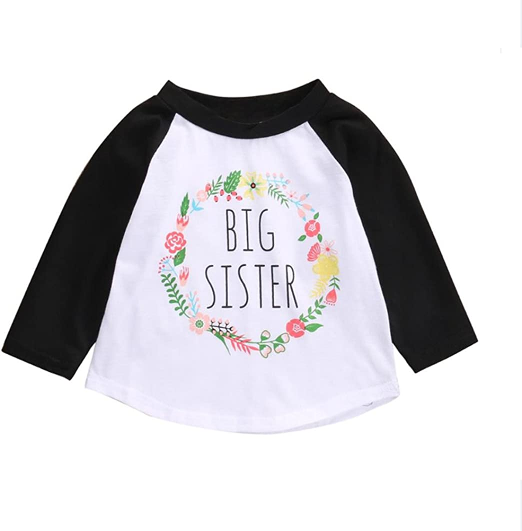 KIDSA 3-8T Little Girls Clothes Big Sister T-Shirt Top Skirts Summer Outfits Set