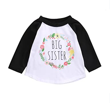 3c36adc6f2 KIDSA 1-5T Baby Toddler Girl Clothes Big Sister Shirt Long Sleeve Floral T-
