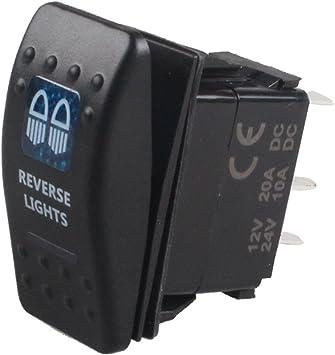Etopars Car Auto Vehicle 12V 20A 24V 10A Red LED Light Rocker Toggle Switch 5Pin Horn Light Momentary