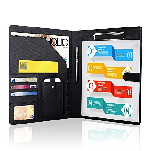 Padfolio Business/Resume Portfolio, AHGXG Leather Folder with Clipboard Document Organizer with Paper Clip, Legal Writing Pad, Pen Holder, Magnetic Closure and Pockets Contrast Stitch for (Leather Open Padfolio)