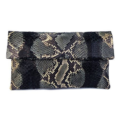 Genuine Camo Motif Python Leather Classic Foldover Clutch Bag