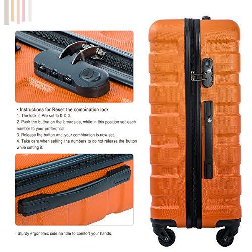 Merax Luggage Set 3 Piece Lightweight Spinner Suitcase (Orange) by Merax (Image #5)