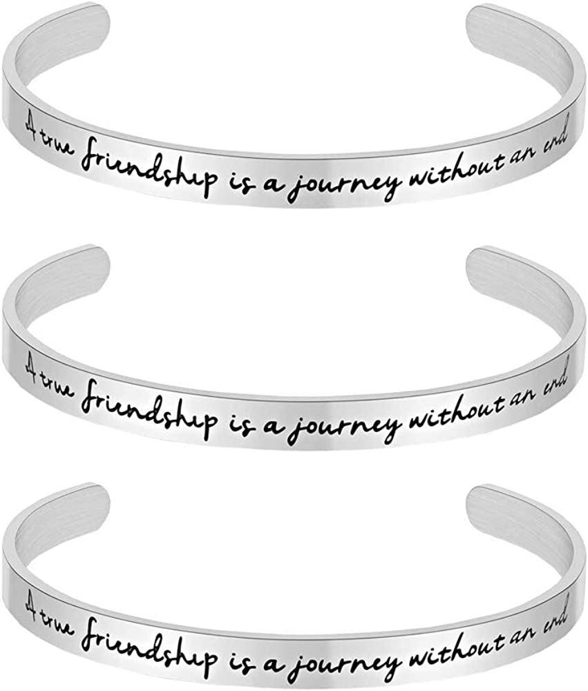 Going Silver Inspirational Bracelet Cuff Bangle Women Mantra Quote Positive Saying Stainless Steel Engraved Motivational Friend Encouragement Jewelry Gift for Women Teen Girls with Secret Message