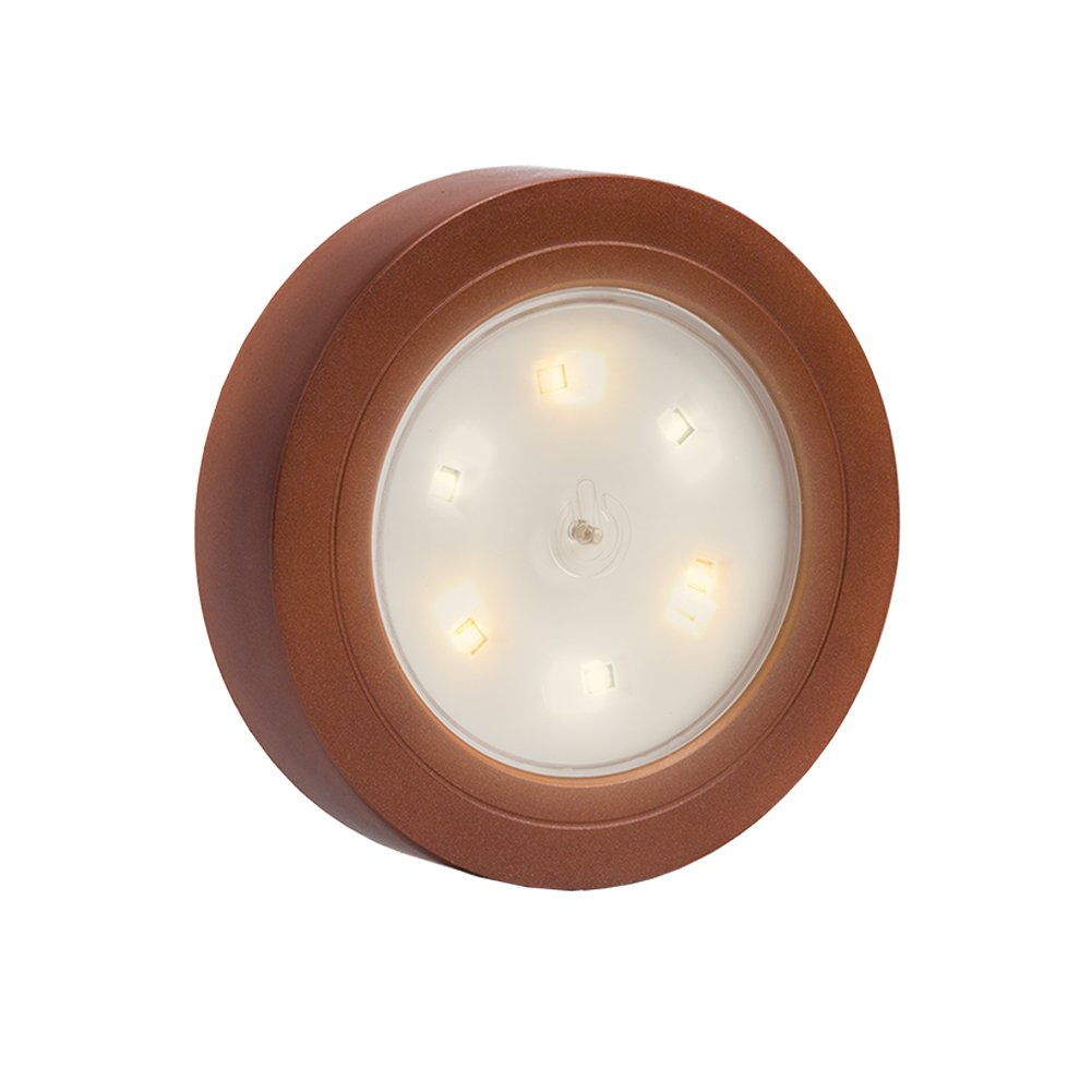 Closet Light Super Bright Tap Light Battery Operated LED Push Puck Night Light Touch Stick on Lights for Closet Cabinet Bedroom Storage Shed Hallway Stair Shelf Car(Copper)