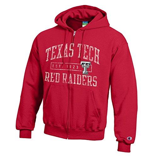 Champion NCAA Texas Tech Red Raiders Men's Men's Full Coverage Zip Hoodie, Large, Scarlet Texas Tech Fan Shop