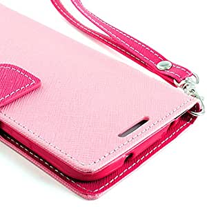 myLife Light Pink and Pink {Classic Design} Faux Leather (Card, Cash and ID Holder + Magnetic Closing) Slim Wallet for the All-New HTC One M8 Android Smartphone - AKA, 2nd Gen HTC One (External Textured Synthetic Leather with Magnetic Clip + Internal Secure Snap In Hard Rubberized Bumper Holder)