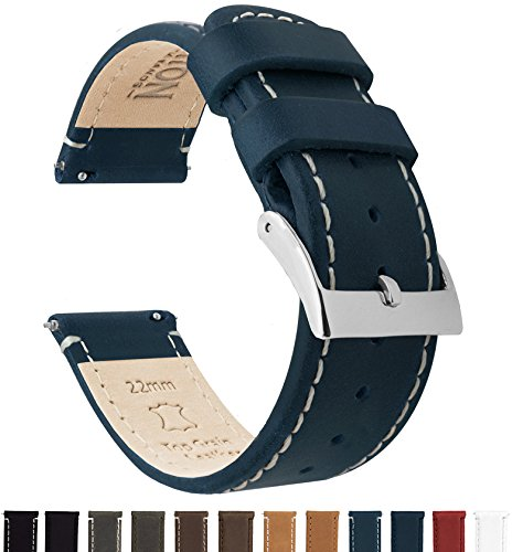 Blue Leather Strap - Barton Quick Release Top Grain Leather Watch Band Strap - Choose Color & Width (18mm, 20mm or 22mm) - Navy/Linen 22mm