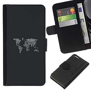 YiPhone /// Tirón de la caja Cartera de cuero con ranuras para tarjetas - Mapa del mundo - Apple Iphone 5C