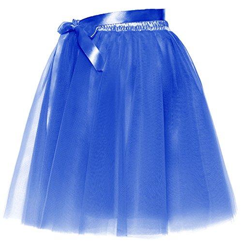 BeiQianE Femmes Short Bowknot Layered Tulle Jupon Slip Party Prom Jupe Sash Amovible Bleu