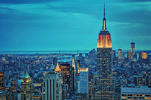 (Empire State bulding Night Lights) Home Decor Poster Art Print Canvas Posters W20xL13 inch ()