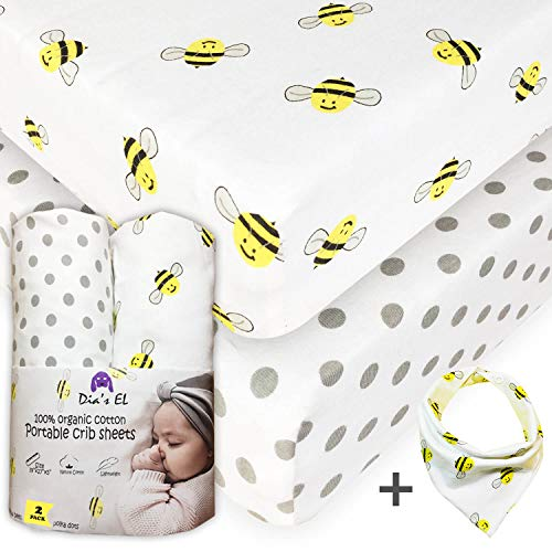 Pack n Play Sheets | 2 Pack Mini Crib Sheet 100% Organic Cotton | They fit Nice and Snug Graco Playard and Playpen Mattress | Super Soft and Thicker Than Average Sheets