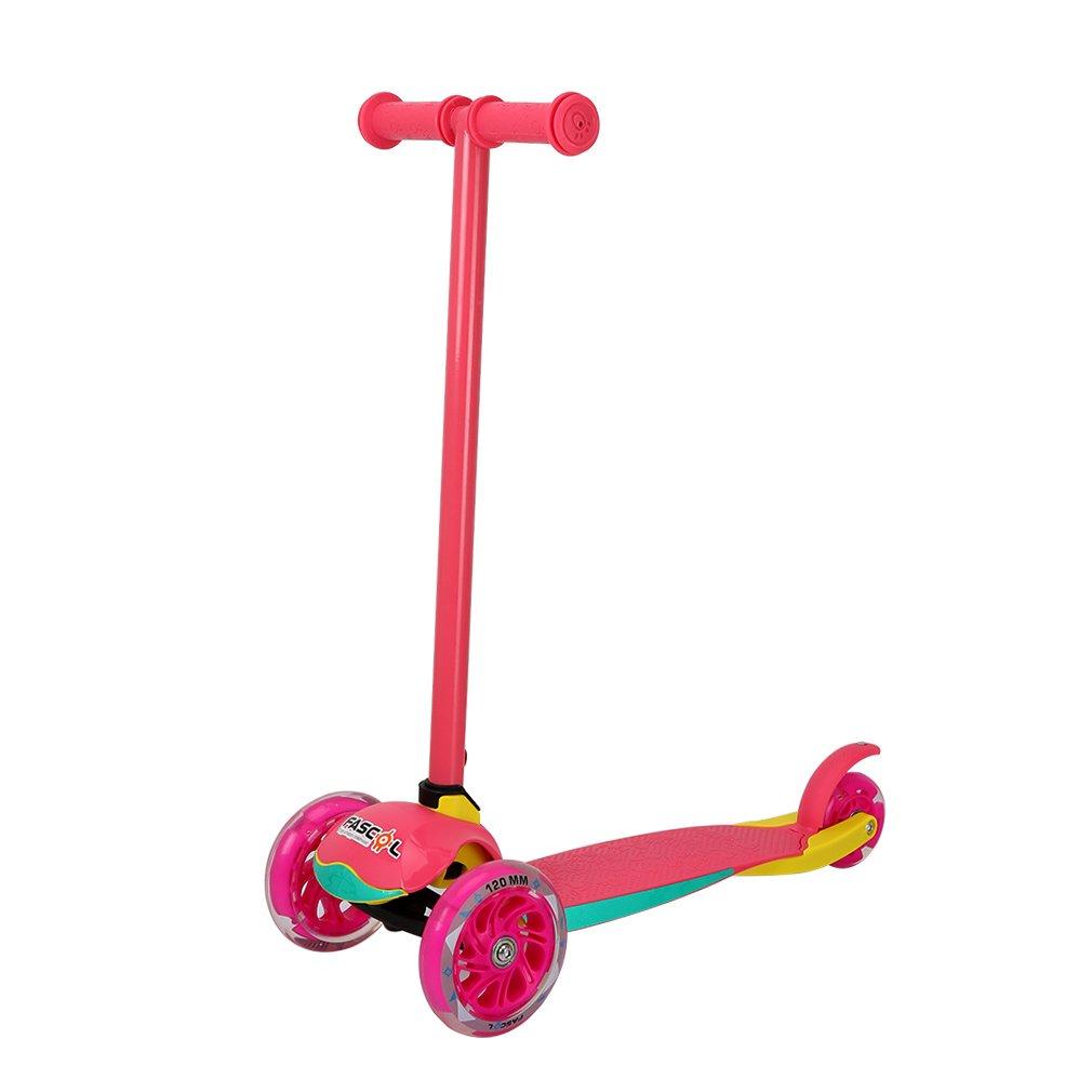 Fascol Patinete Plegable de 3 Ruedas para niños de 2 - 7 Años, Scooter 3 Ruedas para Niños, con Rueda Brillante, Rosa