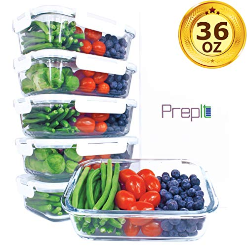 [36oz, 5-Pack Premium] Glass Meal Prep Containers 1 Compartment Set- Food Lunch Storage- Airtight Locking Lids - Portion Control -Microwave, Freezer, Oven & Dishwasher Safe (4.5 Cups)