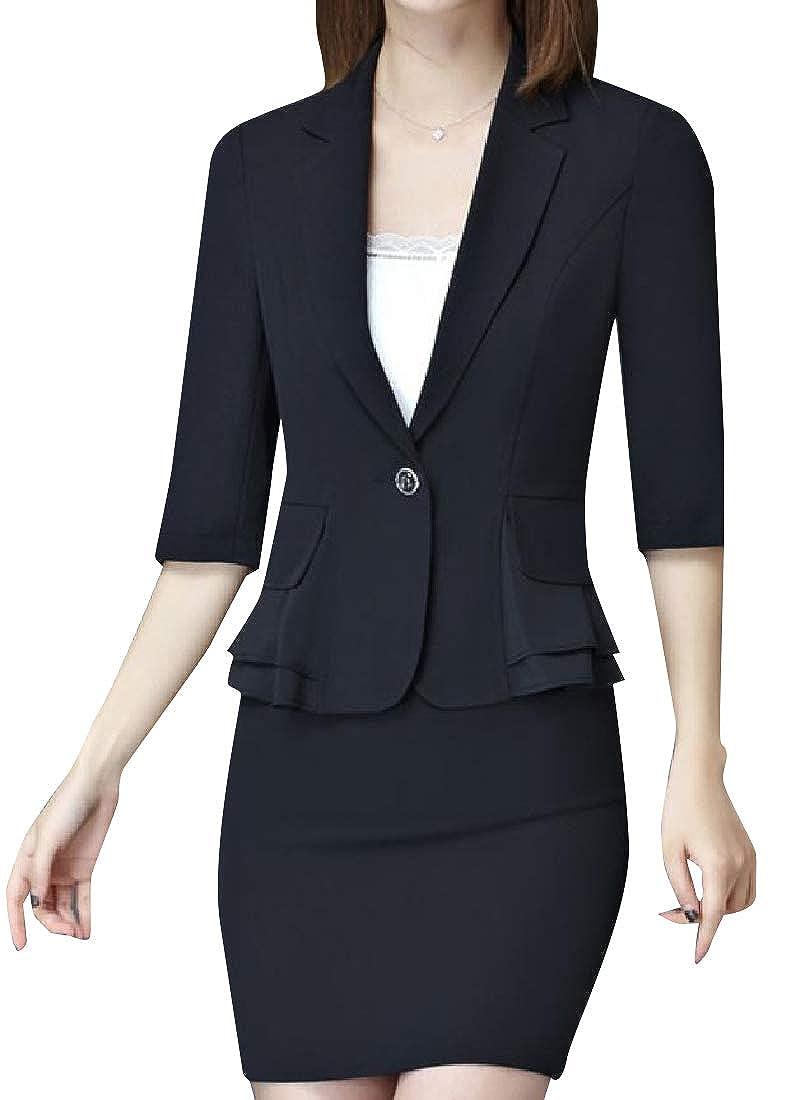 YUNY Womens Slim Cut Flounced Hem Sport Coat A-Line Skirt 2pcs Black S