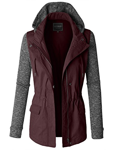 LE3NO Womens Lightweight Military Anorak Jacket with Detachable Fleece Hoodie