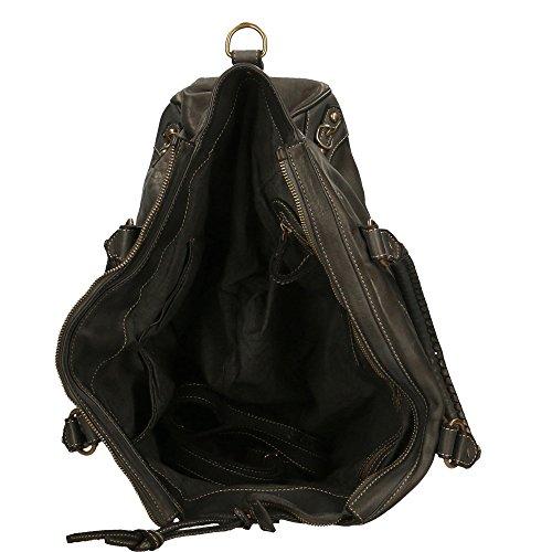 cuir Italy Noir Chicca d'épaule main Sac Vintage Avec Cm 35x31x19 en à femme véritable in Made Borse sangle 6wxvTq