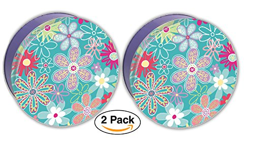 Premium Cookie Tin Decorative Flower Blossom, Empty - Cookie Gift Tins, Extra Thick - Cookie Jar Tin