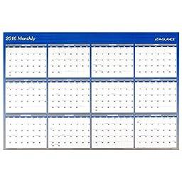 AT-A-GLANCE Wall Calendar 2016, Erasable, Reversible, 48 x 32 Inches, Blue (A1152)