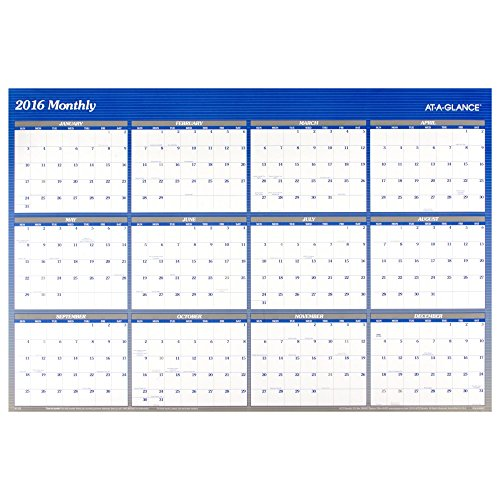 AT-A-GLANCE Wall Calendar 2016, Erasable, Reversible, 48 x 32 Inches, Blue (A1152) -  ACCO Brands, A1152-16