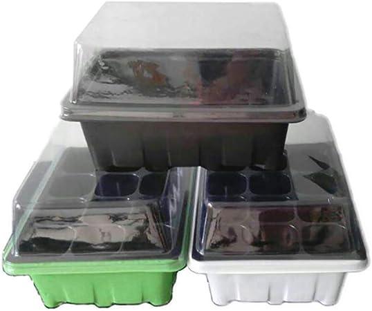 Deanyi Planta de la Caja de la Planta de semillero Caja Incubadora de siembra de plántulas pequeñas de Cultivo Herramientas de jardinería Accesorios 12 Agujero de Color al Azar 1 Fija.: Amazon.es: