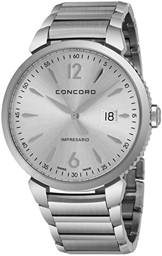 - Concord Impresario Mens Stainless Steel Classic Watch - 41mm Analog Silver Face with Second Hand, Date and Sapphire Crystal Quartz Watch - Metal Band Swiss Made Nice Luxury Watch for Men 0320323