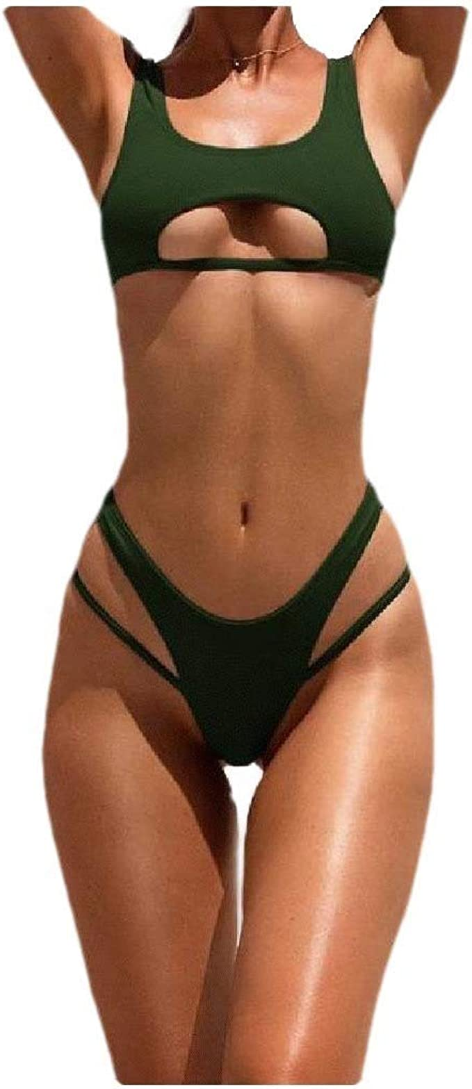 Amazon Com Comaba Women S Solid Color Hollow Bodycon Stylish Bikini Swimsuit Bathing Suits Clothing