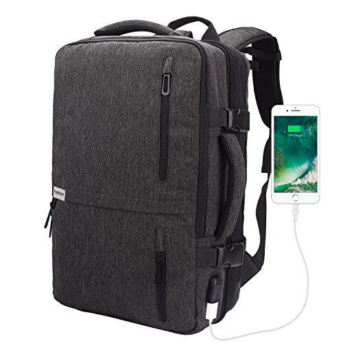 Lifeasy Travel Backpack, 35L Carry-On Daypack Flight Approved Laptop Expandable Weekender Multipurpose Trip Bag Business Backpacks with USB Charging Port Grey by Lifeasy