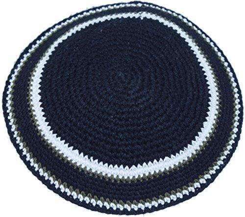 Holy-Land-Market-BlackWhite-17cm-DMC-100-Knitted-Cotton-Kippah-Torah-Chabad-Yarmulke-Jewish