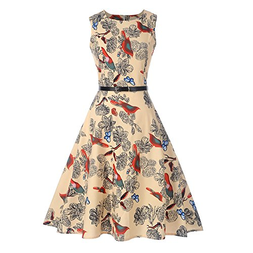 Women Dresses Godathe Women Vintage Sleeveless O Neck Evening Printing Party Prom Swing Dress S-2XL ()
