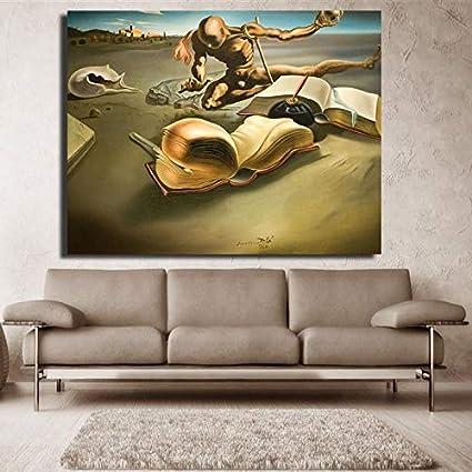 yiyiyaya Arte Abstracto Salvador Dali Obra de Arte Pintura al óleo Impresa en Lienzo Arte de la Pared para Sala de Estar decoración del hogar Pintura 40x40cm