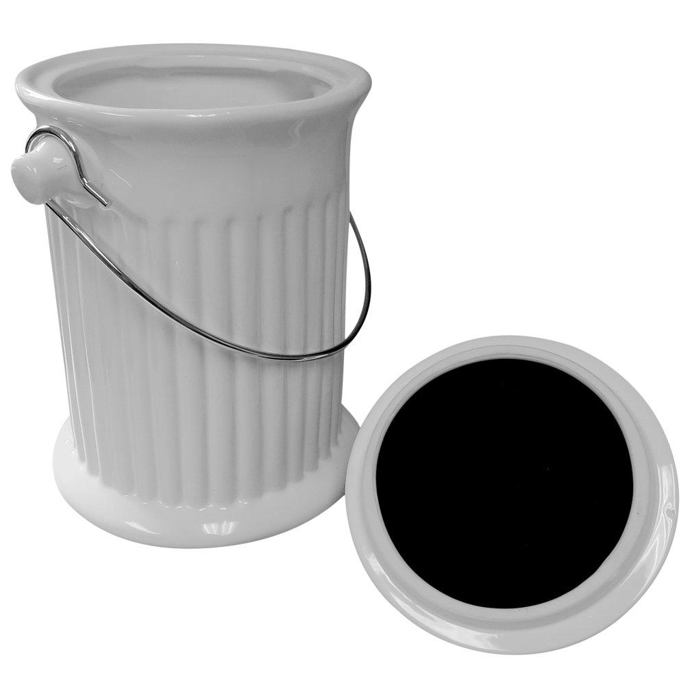 Evelots 4 Liter Komposttopf aus Keramik mit Kohlefilter, Weiß ...