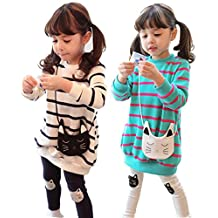 Girls Spring Autumn Cartoon Striped Clothing Sets Long Sleeve Tops + Pants