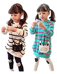 Girls Spring Autumn Cartoon Striped Clothing Sets Long Sleeve Tops + Pants