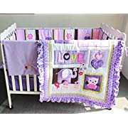 Brandream Crib Bedding Sets For Girls With Bumper Purple Owl And Elephant Nursery Bedding Set ,8pcs